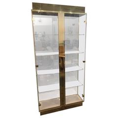 Mid-Century Modern Tall Lucite, Mirror & Gold Tone Metal Cabinet w/ Lighting