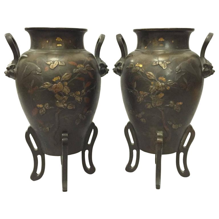 Pair of 19th Century Meiji Period Two-Handled Japanese Bronze Vases