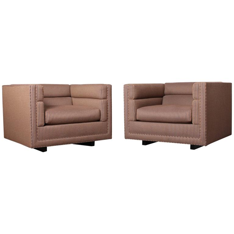Pair of Club Chairs by Dunbar