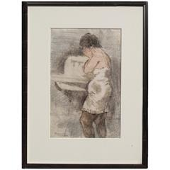"Raphael Soyer Monotype, 1975, ""Woman at Sink"""