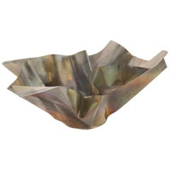 Paper Bowl 1, Made of Crumpled Brass Sheet, Handcrafted and Formed in Chicago
