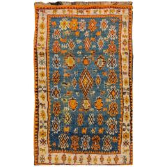 Teal and Orange Antique Moroccan Rug, 3.07x5.09