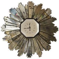 French 1930s Mirrored Sunburst Clock