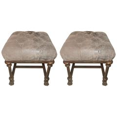 Pair of Iron Suede Tufted French Benches