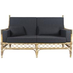 Sofa in Bamboo, Rattan and Golden Brass, 1960