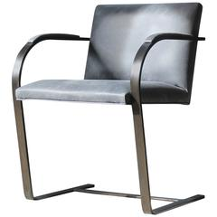 Catone Modernist Cantilever Blackened Steel and Leather Chair, Custom