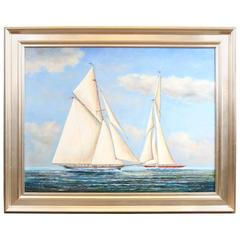 Framed Oil on Canvas of a Yacht Race