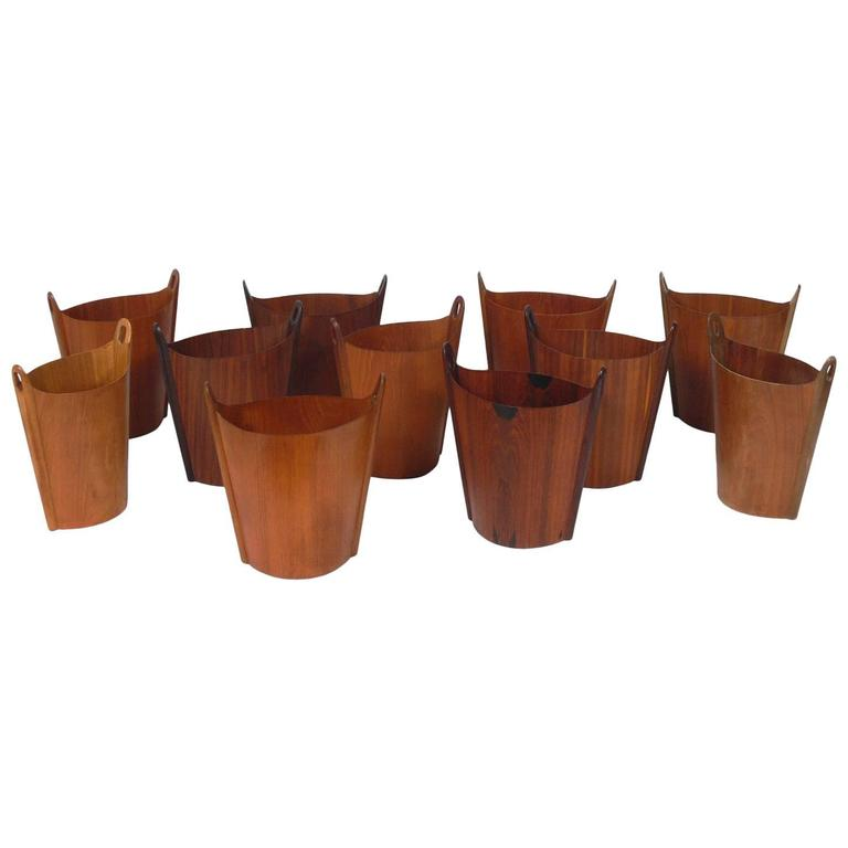 Collection of 11 Danish Modern Waste Cans by Einar Barnes for P.S. Heggen