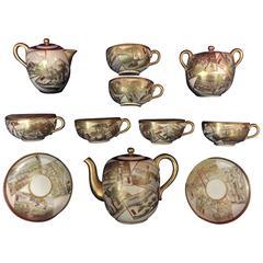 19th Century Japanese Enamelled Porcelain 18-Piece Satsuma Tea Set
