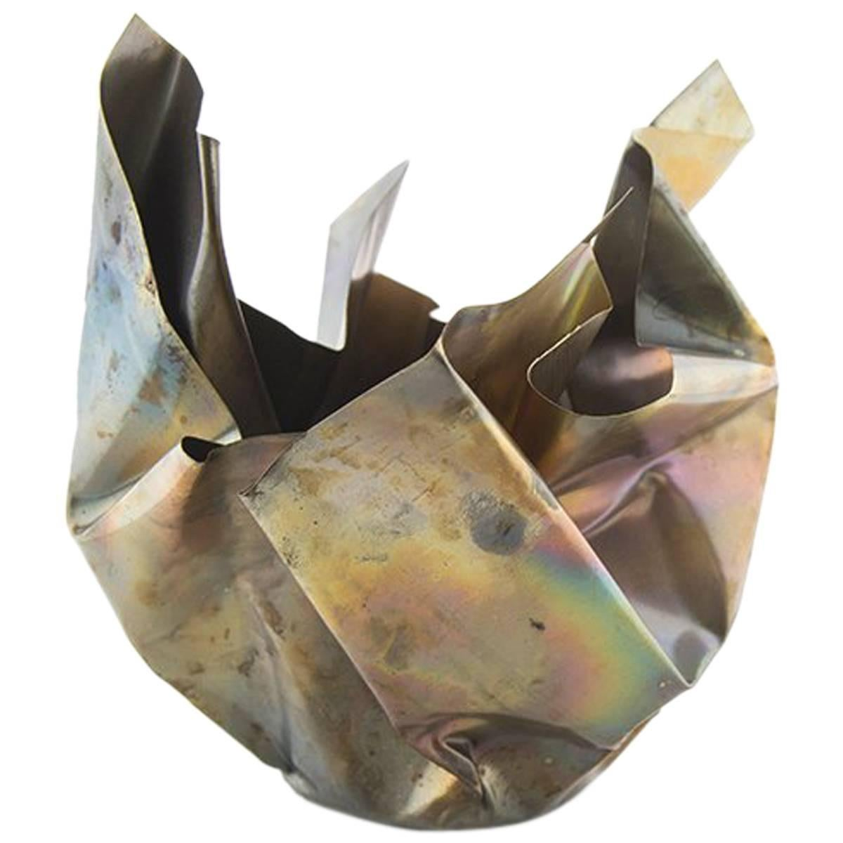 Paper Bowl Two, Made of Crumpled Brass Sheet, Handcrafted and Formed in Chicago