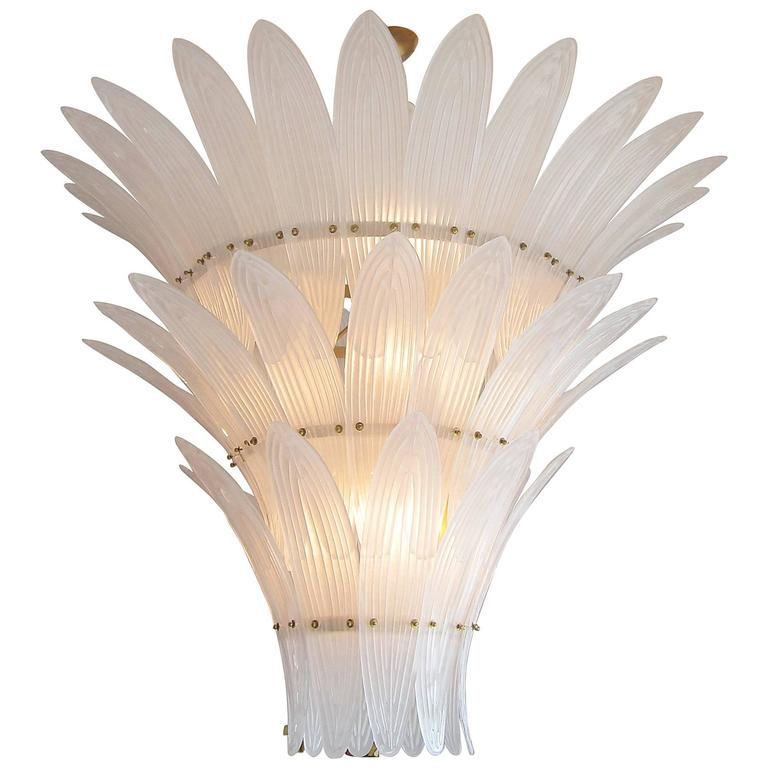 Monumental Hollywood Regency style Palm Leaves Glass Chandelier For Sale