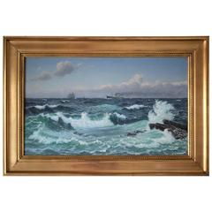 Early 20th Century Seascape Painting by Christian Blache, 1908