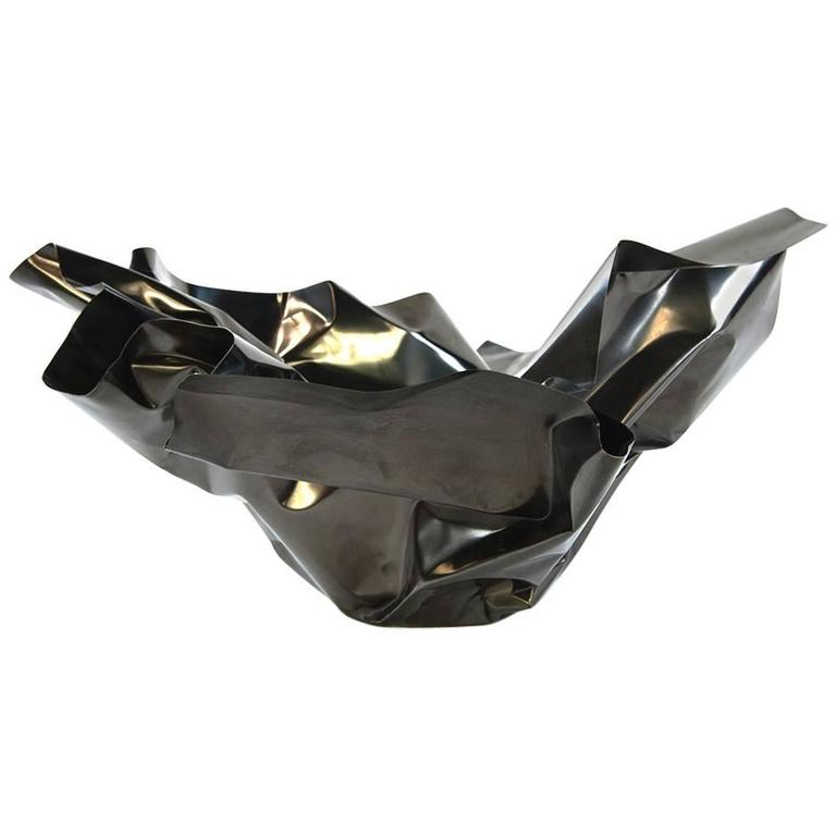 Paper Bowl 3, Made of Crumpled Brass Sheet, Handcrafted and Formed in Chicago