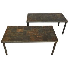 Pair of Lava Stone Coffee Tables