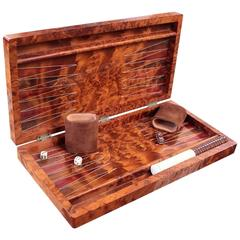 Vintage Burl Backgammon Set