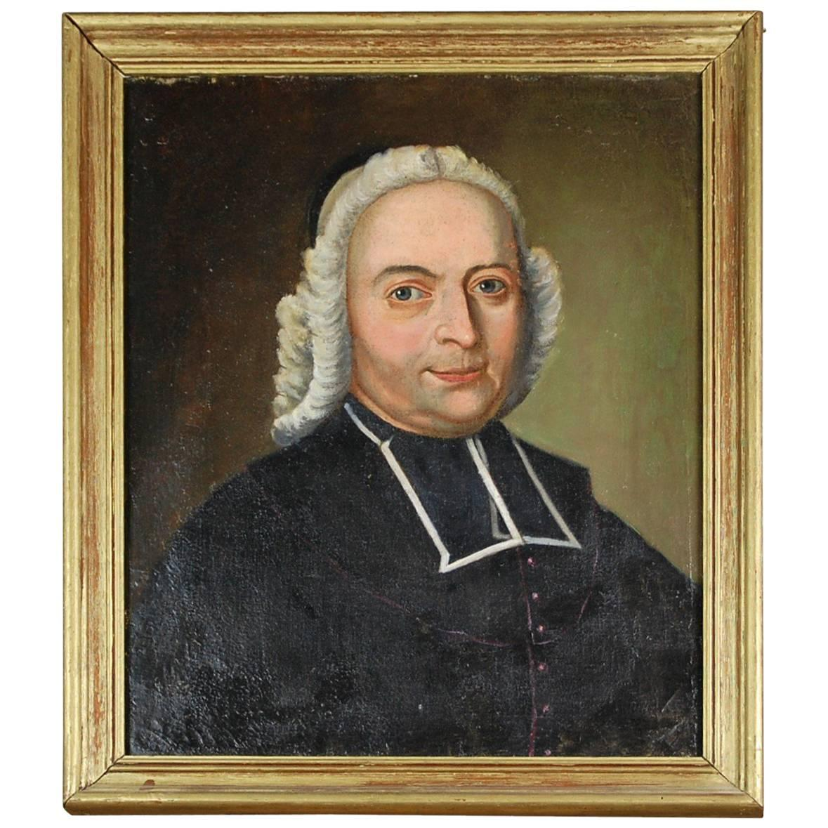 18th Century French Portrait Oil on Canvas