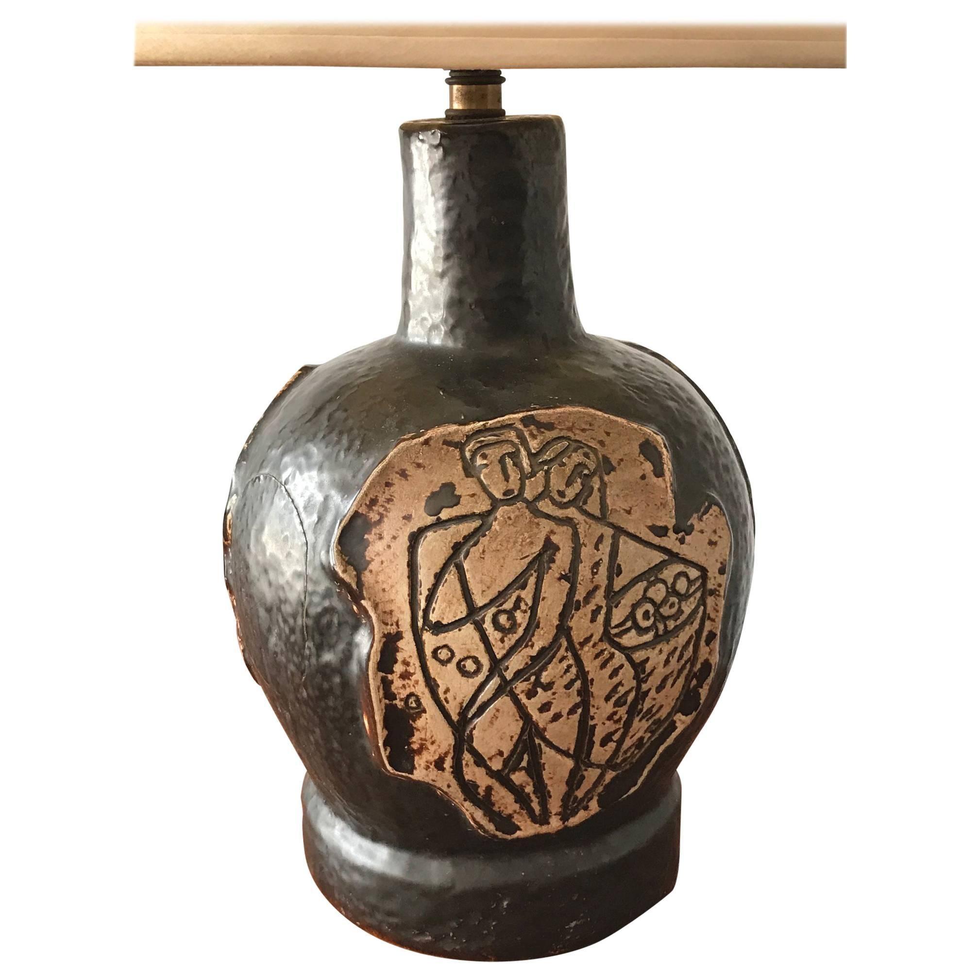 Unusual 1950s Ceramic Lamp