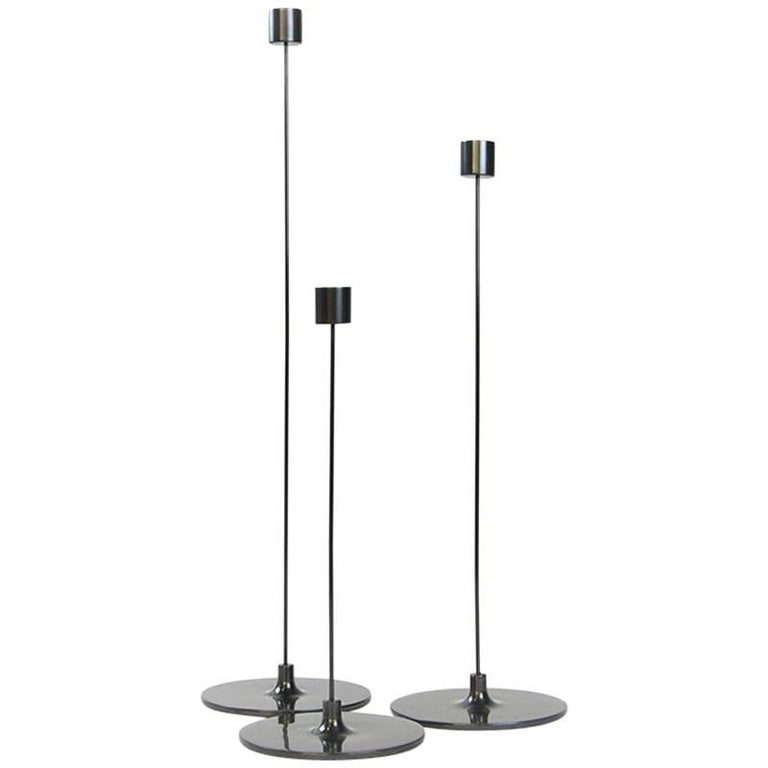 Pin Candle Sticks with Three Sizes, Handcrafted in Brass with Patinated Finishes For Sale