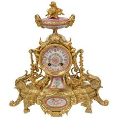 Antique French Ormolu and Sèvres Porcelain Boudoir Clock, circa 1880