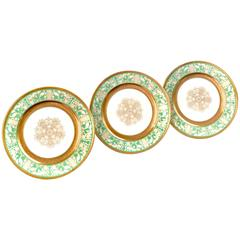 Apple Green and Gold Dinner Plates