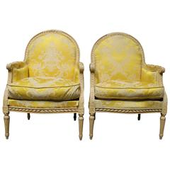 Very Large Pair of French Louis XVI Style Bergeres