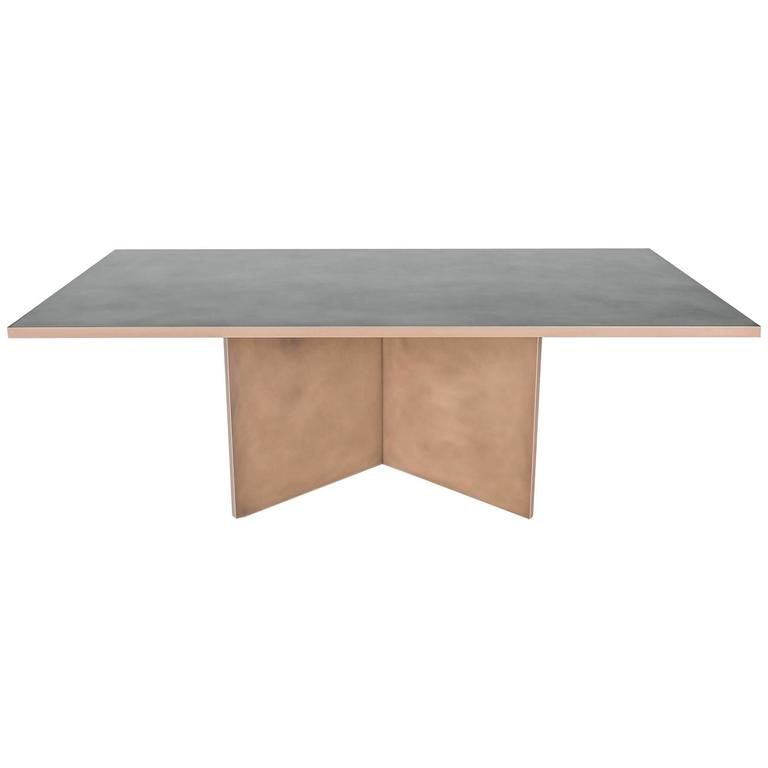 Vega Dining Table, Customizable Metal and Dimensions For Sale
