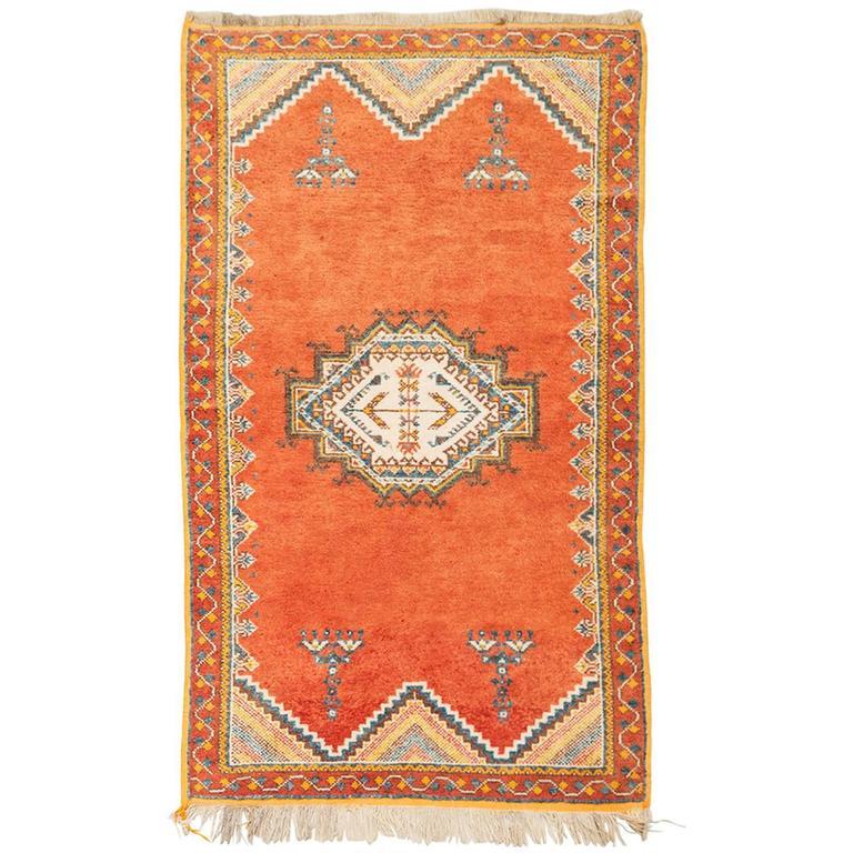Vintage Moroccan Tribal Rug In Wool With Orange Background