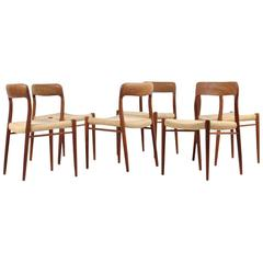 1960s Danish Teak and Cane Dining Room Chairs by Niels O. Moller Mod. 75