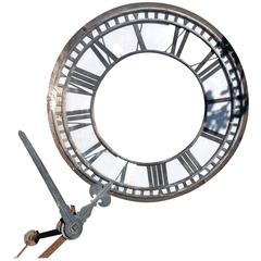 Large Copper and Iron Turret Clock Dial Face with Original Copper Hands