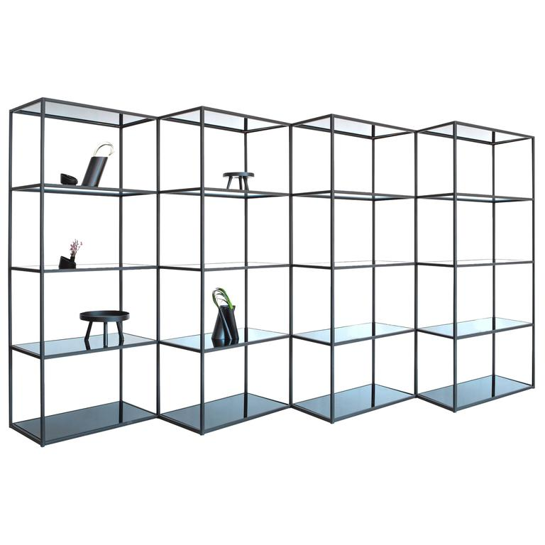 Contemporary Modern Minimal Black Zigzag Modular Bookcase Room Divider, USA For Sale
