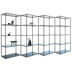Modern Minimal Black Zigzag Four-Section Bookcase and Room Divider