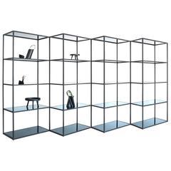 Contemporary Modern Minimal Black Zigzag Modular Bookcase Room Divider, USA