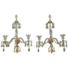 Pair of Adam Cut Crystal and Ormolu Two-Light Wall Sconces, English, circa 1775