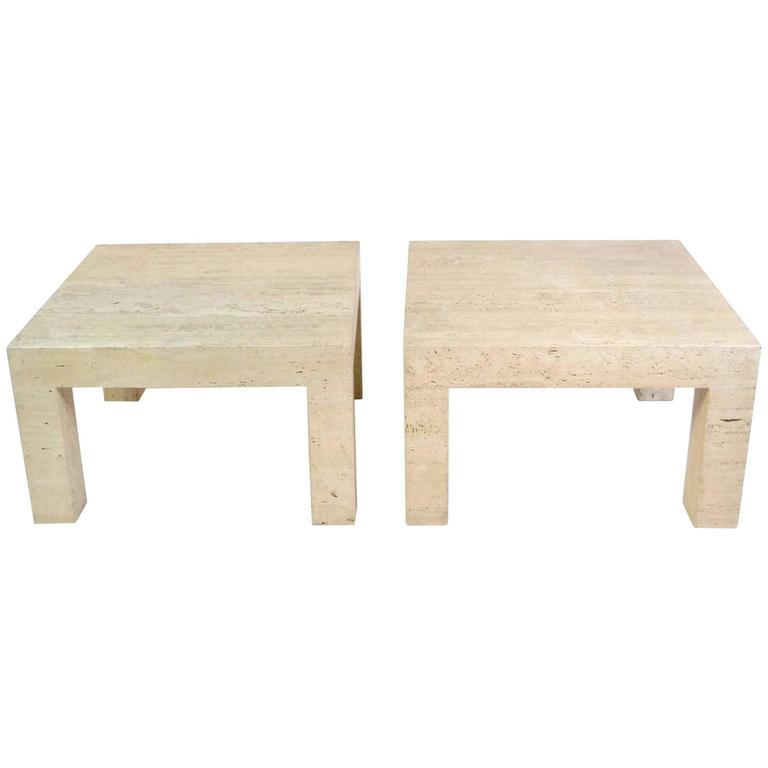 Pair Of Vintage Travertine Parsons Tables For Sale