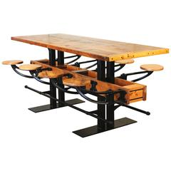 Pub Table Swing Out Seat Bar Vintage Industrial Wood and Steel Kitchen Island