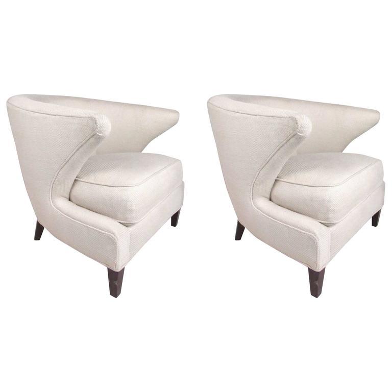 Pair of Modern Thayer Coggin Lounge Chairs