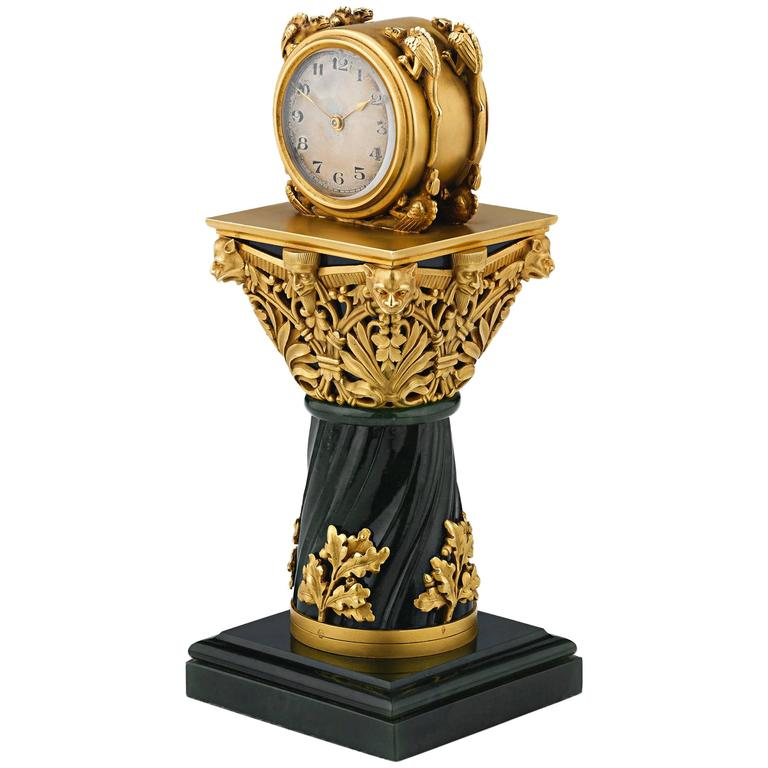 Paul Frey Miniature 18-Karat Gold and Jade Clock For Sale