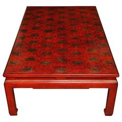 Red Lacquer Rectangular Coffee Table with Gilt Scroll & Lotus Flower Decoration