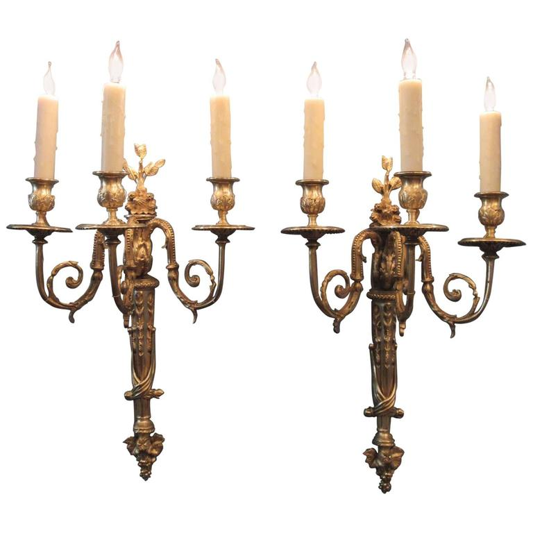 Wall Sconces With Grapes : Pair of Early 19th Century French Regence Bronze Dore Sconces with Grapes For Sale at 1stdibs