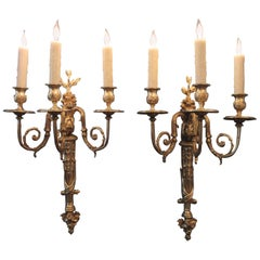 Pair of Early 19th Century French Regence Bronze Dore Sconces with Grapes