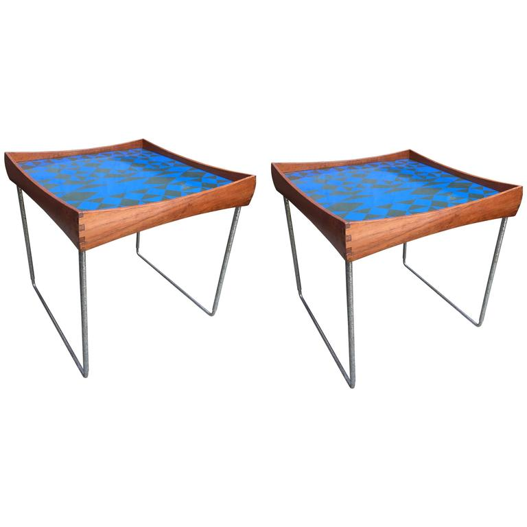 Enamel Tray Coffee Table: Pair Of Hermann Bongard Tray Tables At 1stdibs