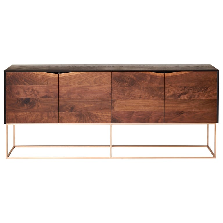 Rustic Modern Credenza, Handcrafted of American Hardwoods with a Bronze Base For Sale