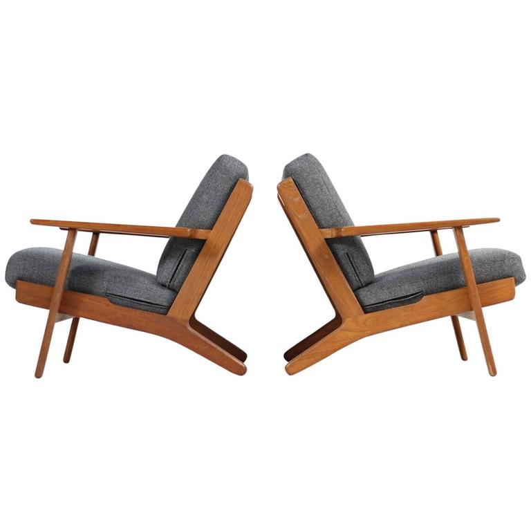 Fantastic Pair Of Hans J Wegner Low Lounge Easy Chairs