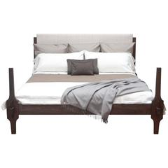 King-Size Greydon Bed in Macassar Stained Walnut with Upholstered Headboard