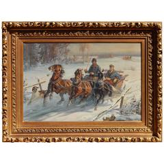Polish Artist Jan Kasprowicz Oil on Canvas - Winter Scene, Driving the Troika