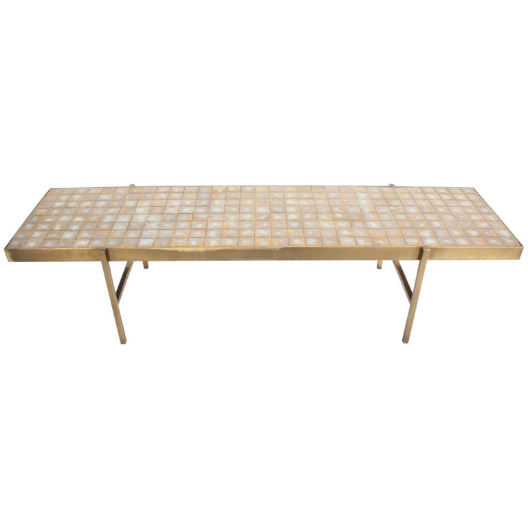 Edward Wormley for Dunbar Style Brass and Tiled Coffee Table For Sale
