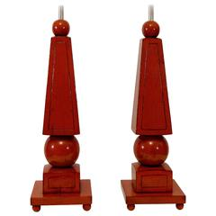 Pair of Red Lacquer Obelisk Form Table Lamps