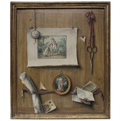French Louis XVI Style Trompe L'Oeil Oil on Canvas in a Giltwood Frame