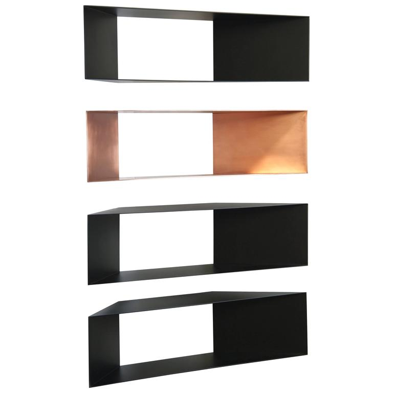 This Contemporary Sculptural Set Of Four Metal Minimal Corner Shelves Are Perfect For Any Space Be