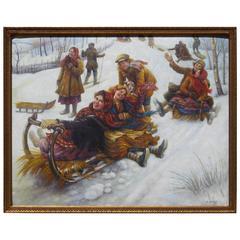 Russian American Artist Anatoly Sokoloff Winter Scene Painting, circa 1960s